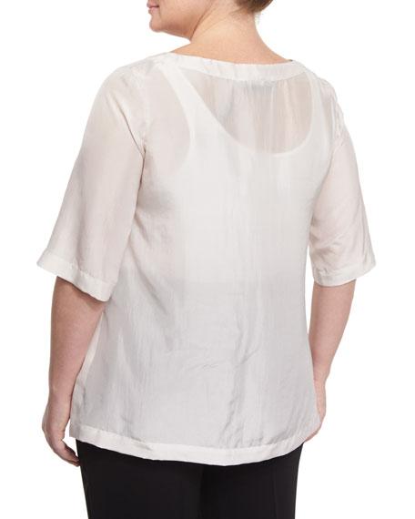 Beat 3/4-Sleeve Japonette Silk Top, Plus Size