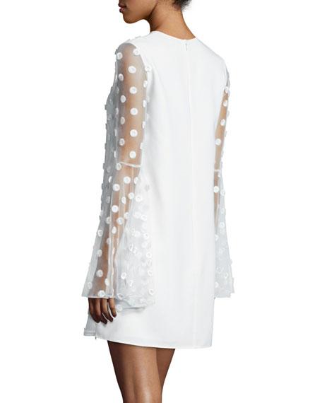 Bell-Sleeve Swiss Dot Cocktail Dress, Creme