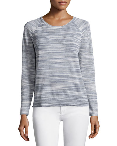 Daila Long-Sleeve Sweater, Porcelain/Nocturne