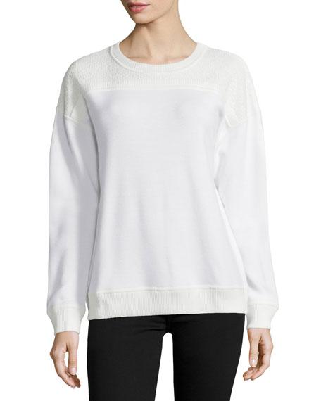 Jason Wu Long-Sleeve Lace-Inset Sweatshirt, Chalk Palm Print