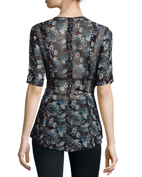 Short-Sleeve Sheer Floral Silk Blouse, Black