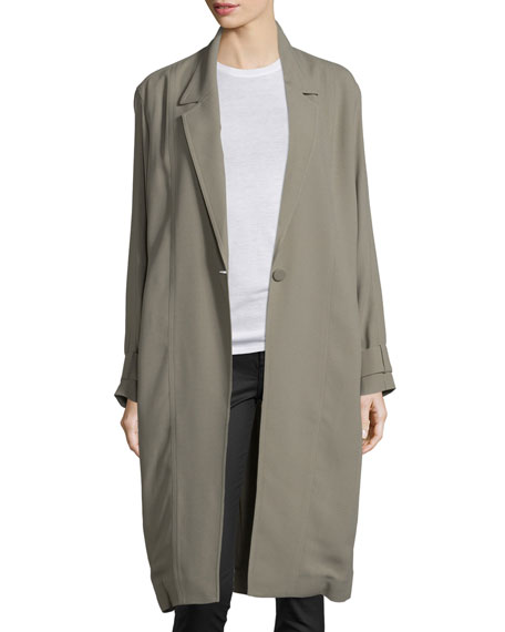 One-Button Long Trenchcoat, Army