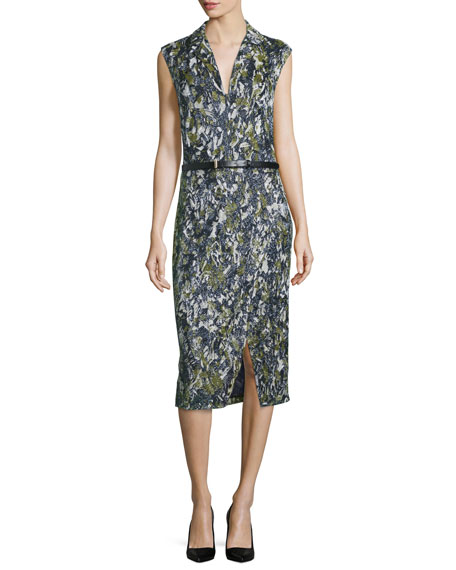 Jason Wu Sleeveless Embroidered Dress W/Belt, Navy/Basil
