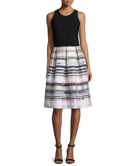 Carmen Marc Valvo Sleeveless Striped-Skirt Dress, Black/Blush