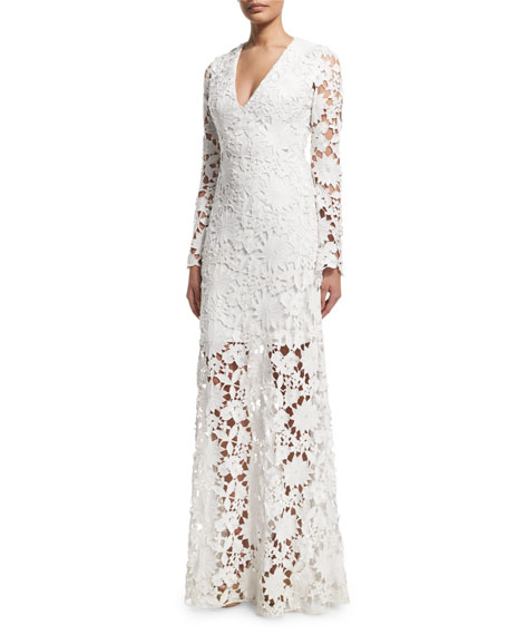 Badgley Mischka Long-Sleeve Lace Gown