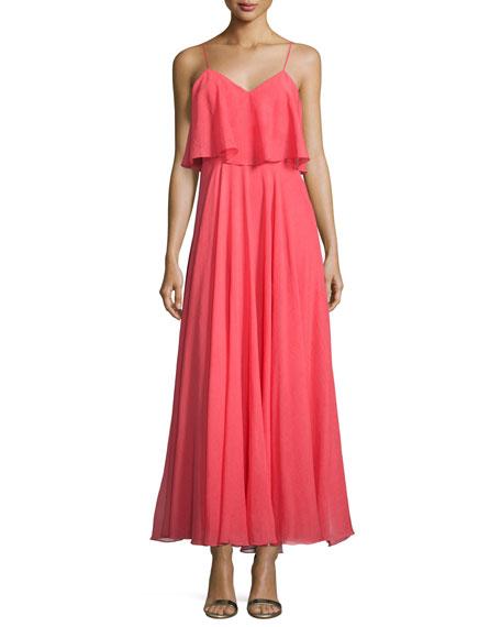 Halston Heritage Sleeveless Flounce-Bodice Dress, Coral