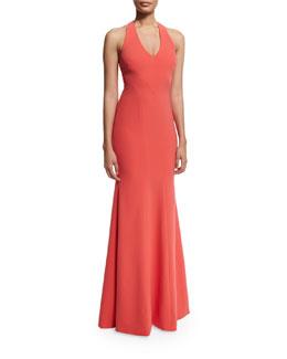 Sleeveless V-Neck Mermaid Gown, Orange