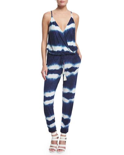 Kenzie Tie-Dye Slim-Leg Jumpsuit, Navy Shibori Stripe