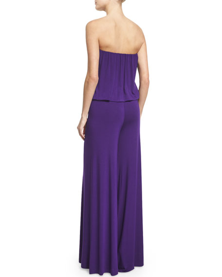 Sydney Strapless Wide-Leg Jumpsuit, Purple