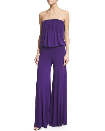 Young Fabulous and Broke Sydney Strapless Wide-Leg Jumpsuit. Purple