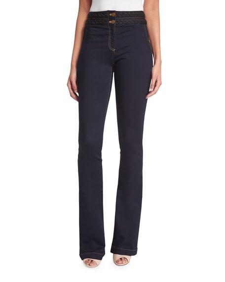 Veronica Beard Biscayne Braided-Waist Boot-Cut Jeans, Indigo