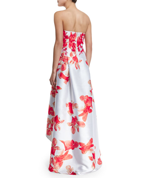Strapless Floral-Print High-Low Midi Dress
