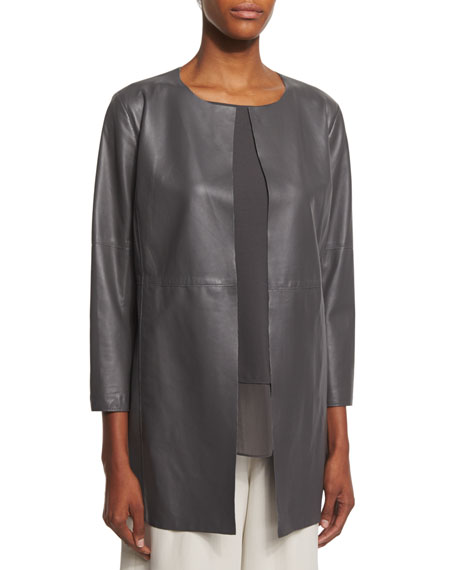 Eileen Fisher Fisher Project Draped Lightweight Leather Jacket, Bark