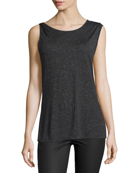 Halston Heritage Sleeveless Draped-Back Top, Metallic Charcoal