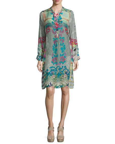 Johnny Was Collection Yokina Printed Georgette Dress, Petite