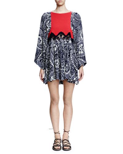 Flutter-Sleeve Daisy-Chain Print Dress, Daisy Chain