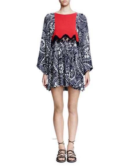 Chloe Flutter-Sleeve Daisy-Chain Print Dress, Daisy Chain