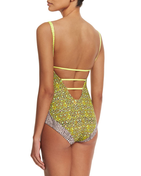 Walk The Dock Reversible One-Piece Swimsuit, Multi Colors