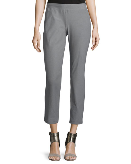 Eileen Fisher Washable-Crepe Straight-Leg Pants, Smoke, Petite