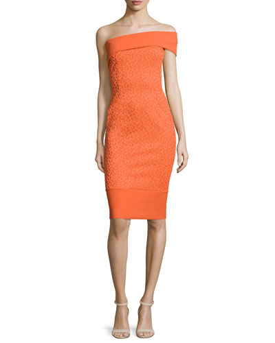 India Off-The-Shoulder Sheath Dress, Orange