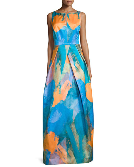 Milly Sleeveless Abstract-Print Gown, Teal