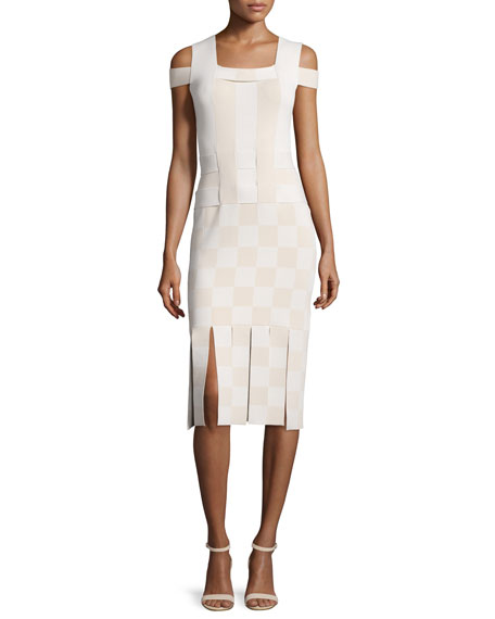 Opening Ceremony Cold-Shoulder Basketweave Sheath Dress, Sycamore