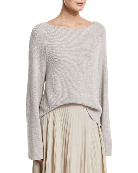 Helmut Lang Cashmere-Blend Ribbed Pullover Sweater, Agate