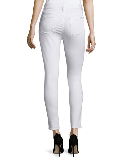 The Ankle Skinny Distressed Jeans, Clean White 2