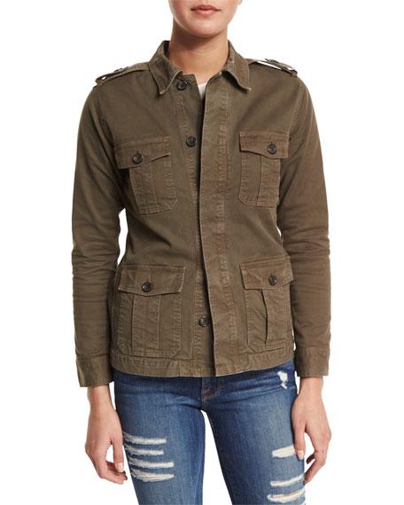 FRAME DENIM Le Cadet Button-Front Jacket, Commander
