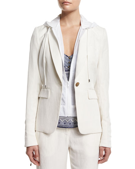 Veronica Beard Prairie Linen-Blend Jacket with Parka Combo,