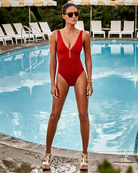 Lea Plunge Zip-Neck One-Piece Swimsuit