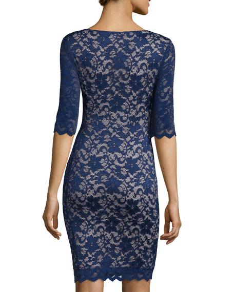 Half-Sleeve Lace Sheath Dress