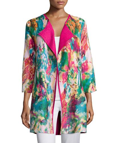 Watercolor Crinkled Reversible Jacket, Plus Size