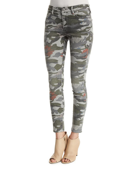 True Religion Halle Mid-Rise Super-Skinny Jeans, Camo Floral