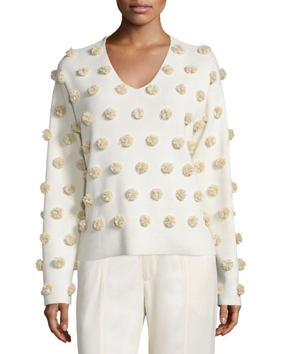 Pom-Pom V-Neck Boxy Top, Paris White