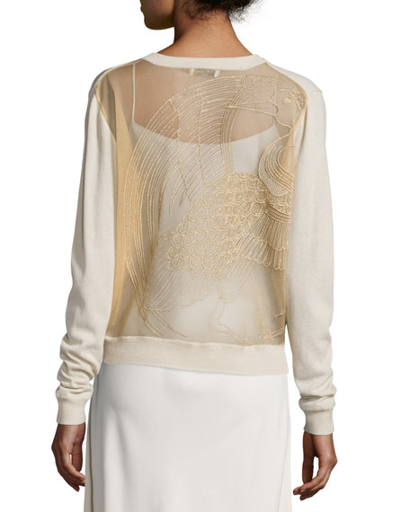 Opening Ceremony Embroidered Knit Cardigan, Sycamore