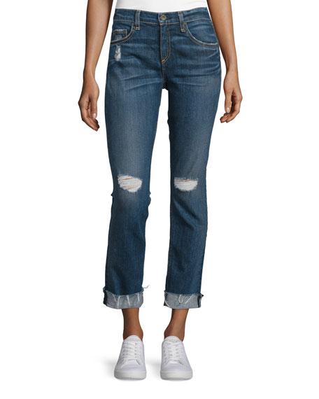 rag & bone/JEAN Dre Mid-Rise Distressed Cropped Jeans,