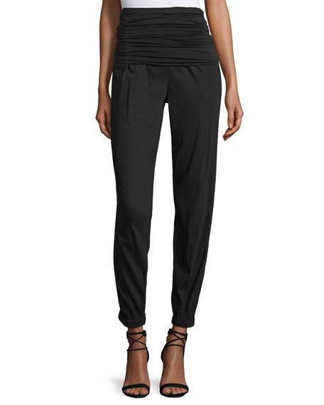 Donna Karan Convertible Wide-Leg Pull-On Pants, Black