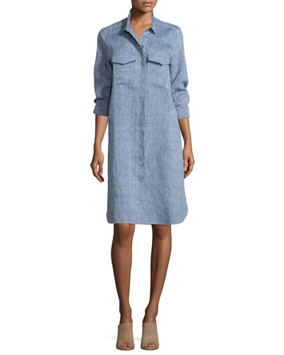 Long-Sleeve Linen Shirtdress, Women's