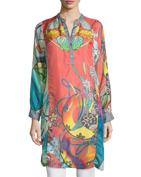 Johnny Was Collection Yokina Long-Sleeve Printed Silk Slip