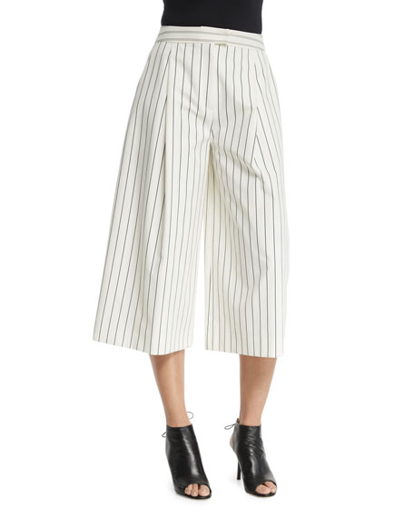 Nicholas Pleated-Front Striped Culottes, White