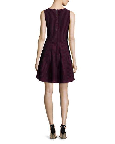 Sleeveless Fit-&-Flare Dress, Burgundy/Black
