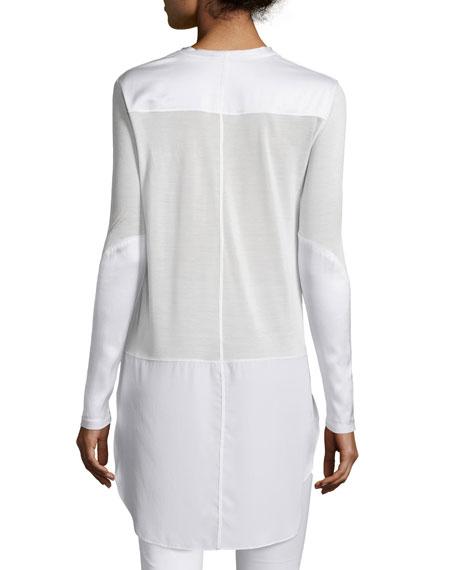 Riley Long-Sleeve Silk-Blend Top, Bright White