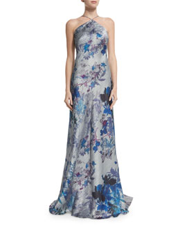 Sleeveless Floral-Print Halter A-line Gown