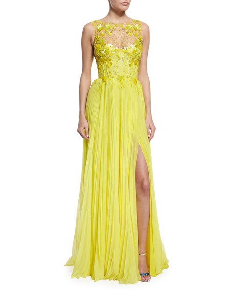 Monique Lhuillier Embroidered Tulle/Pleated Chiffon Illusion Gown