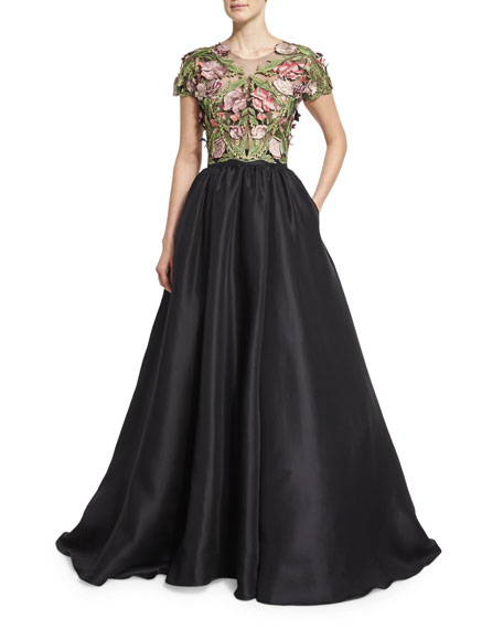 Short-Sleeve Floral-Applique Ball Gown, Black