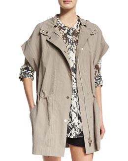 Short-Sleeve Hooded Anorak Jacket