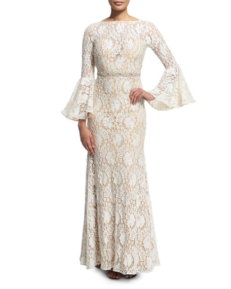 Jovani Bell-Sleeve Lace Mermaid Gown