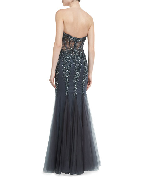 Strapless Sweetheart Beaded Mermaid Gown