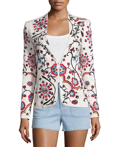 Juliet Floral Embroidered Jacket, White/Multicolor